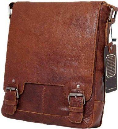 Сумка мужская вертикальная Ashwood Leather Kingston 8342 Tan